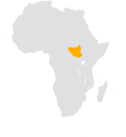 Africa map highlighting South Sudan