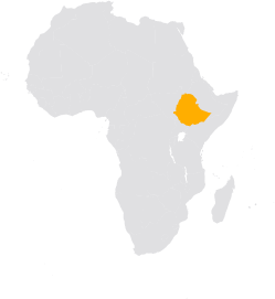Africa map highlighting Ethiopia