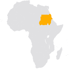 Africa map highlighting Sudan